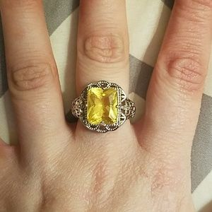 Size 7 925 Stamped SS Citrine Ring